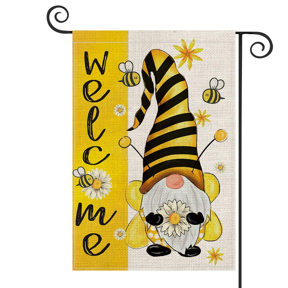 AVOIN Summer Welcome Watercolor Bee Gnome Flower Garden Flag Vertical Double Sided, Holiday Party Yard Outdoor Decoration 12.5 x 18 Inch