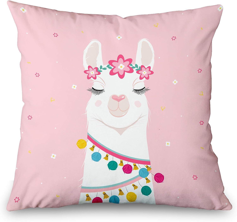 Toobaso Decorative Throw Pillow Cover Square 18x18 Cute Cartoon Llama Pink Animal Art Baby Character Drawing Funny Girl Greeting Happy Llamas Love Home Decor Zippered Pillowcase