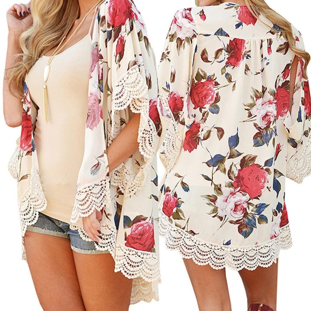 Goodtrade8 Women Cardigan Flower Cover UP Plus Size Shawl Chiffon Blouses (XL, Beige)