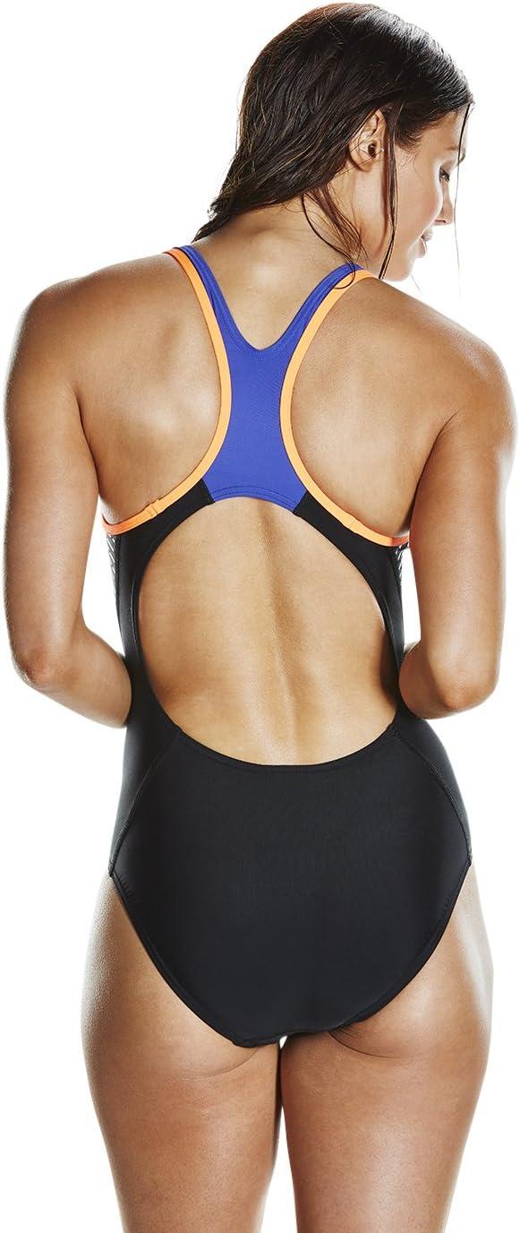 Speedo Women's Fit Laneback Swimsuit Swimsuit Black/Fluo Orange/Ultramarine