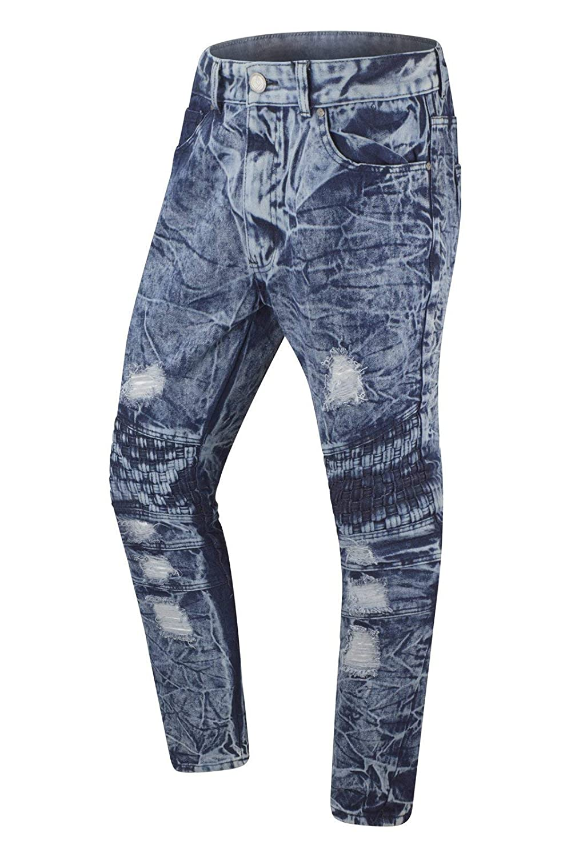 Trending Apparel New Men Biker Denim Ripped Jeans Quilted Knees
