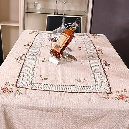 ZB Jardín llano algodón y lino slip mantel té tela cinta bordada toalla tapa mesa ,