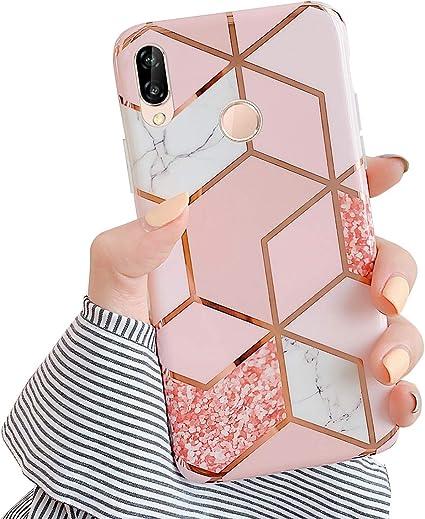 MoreChioce Coque Huawei P20 Lite,compatible avec Coque Huawei P20 Lite Gold,Jolie Géométrie Bling Diamond Coque en Silicone Housse de Protection ...