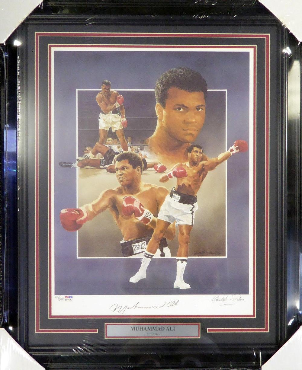 Muhammad Ali Autographed Framed 18x24 Lithograph Photo Auto Grade 10 B27063 PSA/DNA Certified Autographed Boxing Art