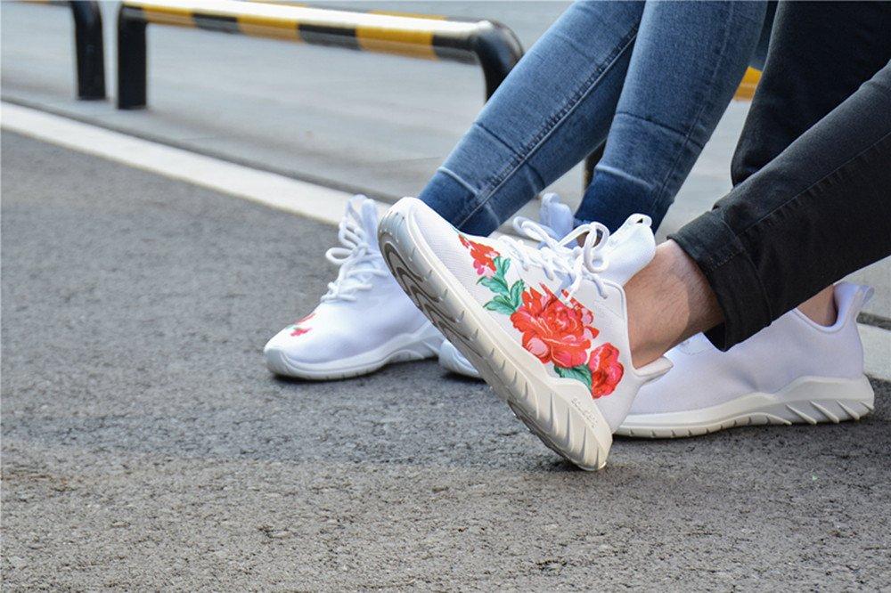 Soulsfeng Men\'s Women\'s Fashion Sport Shoes Lace Up Cushioning Breathable Fabric Flower Design Couples Sneaker (Men 9 D(M) US, White)