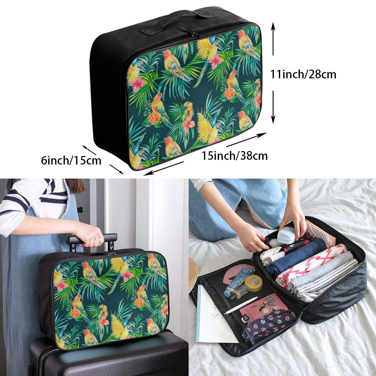 Women /& Men Foldable Travel Duffel Bag Parrot On The Leaf For Luggage Gym Sports