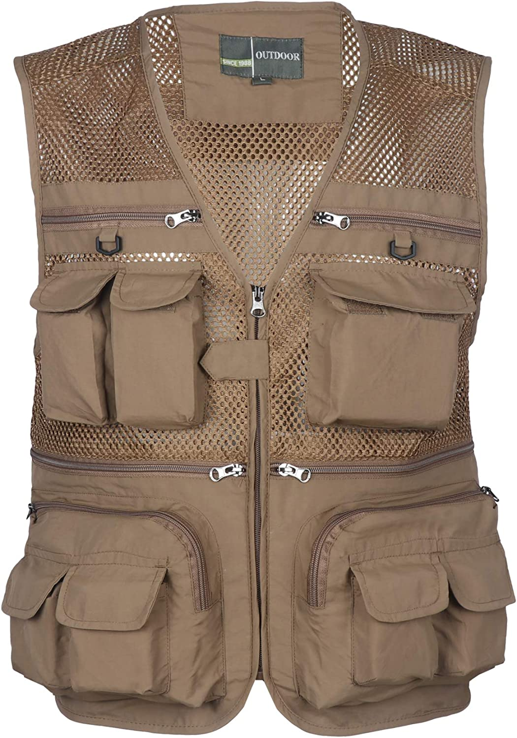 Homovater Mens Mesh Fishing Vest with Multi Pockets Travel Photography Waistcoat Jacket