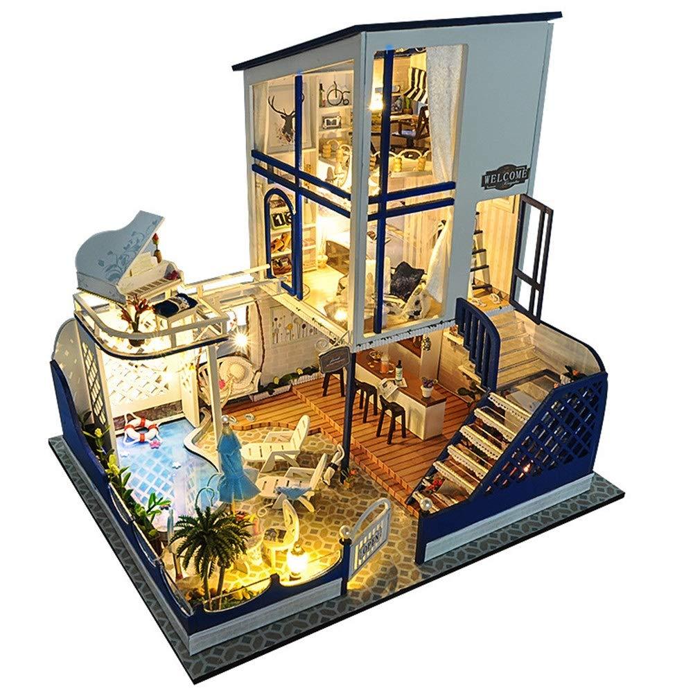 Kit de miniaturas hechas a mano Diy House Starlight Waltz Manualmente ensamblado Villa Modelo Educativo Regalos creativos Regalos De madera DIY Dollhouse Mini Kit hecho a mano para niñas Cabina Cuento