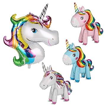 MWOOT Globo Unicornio para Decoración de Fiesta de Cumpleaños, 4 Piezas Globos Unicornio 3D con 2 Estilos (Globos de Papel de Aluminio)