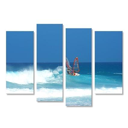 Cuadro Cuadros Tabla de windsurf en Fuerteventura persona que practica surf Impresión sobre lienzo - Formato