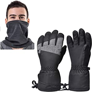 Waterproof Ski Gloves for Men Women, Winter Warm Cozy 3M Thinsulate Snowboard Gloves with Half Ski Mask for Skiing, Snowboarding, Shoveling & Outdoor Sports, with Pocket & Wrist Leashes