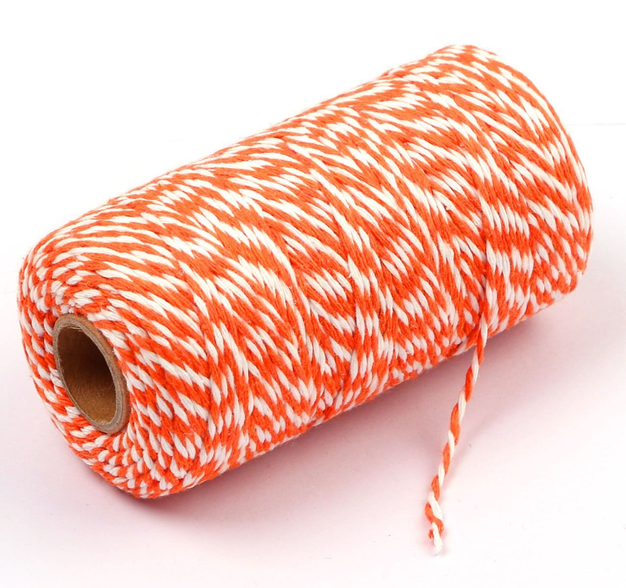 Orange and White Penta Angel 2mm Diameter 100M //109 Yards Natural Cotton Baker Twine Cording DIY Craft Twist String Spool Gift Wrapping Packing Rope for Garden Festival Decoration