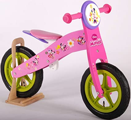 Impulsor de Minnie Mouse 30.48 cm Bicicleta sin pedales de madera ...