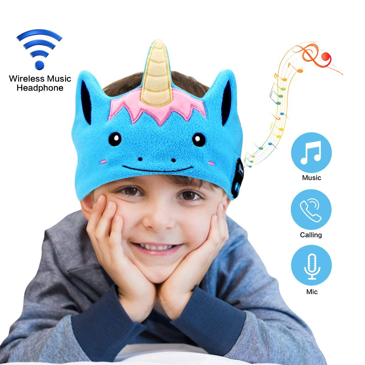 WU-MINGLU Kids Headband Headphones, Wireless Bluetooth Music Soft Fleece Headband Children\'s Headband Earphones Sleep Headphones Built-in Mic Adjustable Washable For Home, Travel