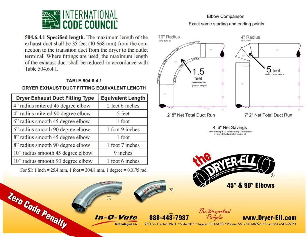 Long Turn 90 Degree Dryer Elbow 4 Inch 10in Radius
