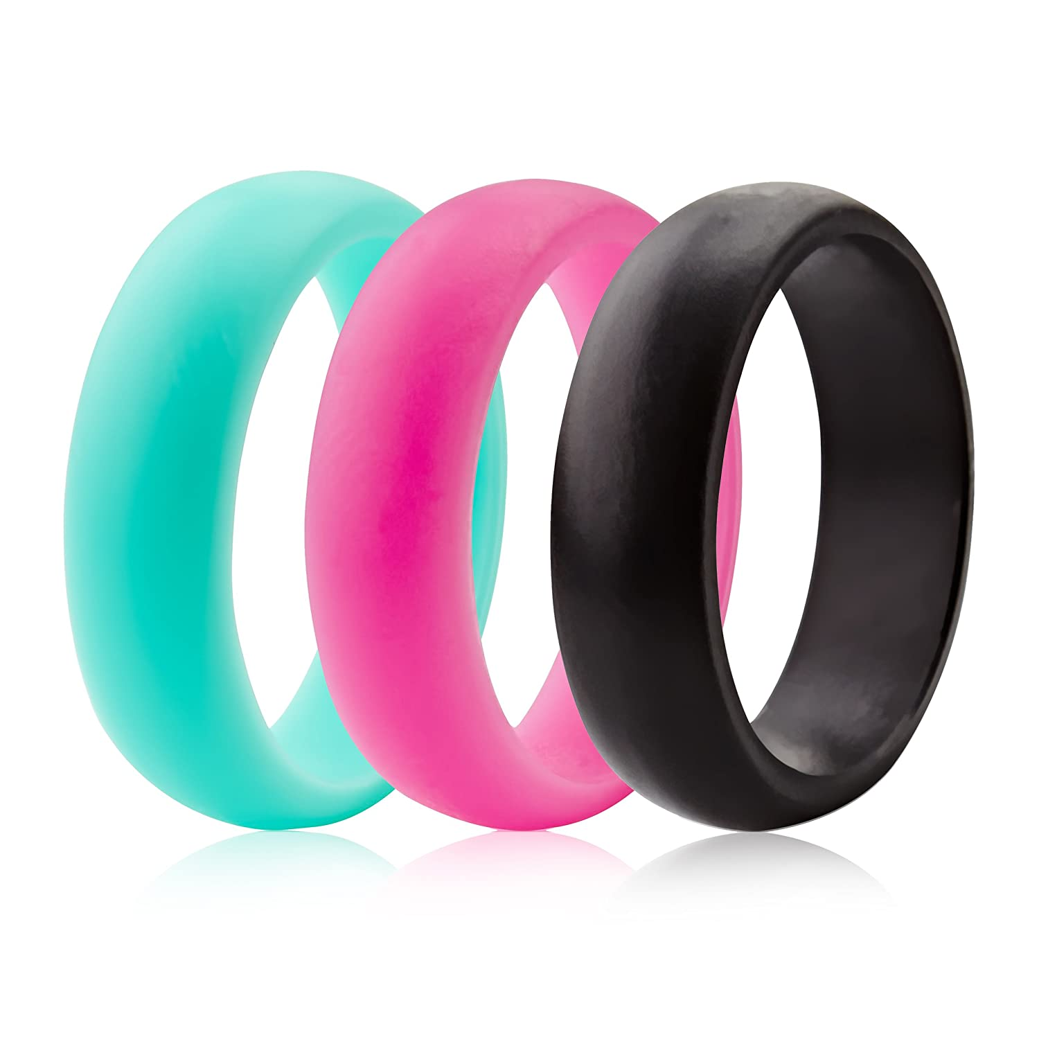 Amazon.com : ThunderFit Silicone Rings Wedding Bands For Women ...