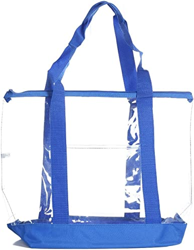 Black Large Clear Tote Bag with Zipper Closure