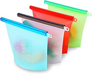 Reusable Silicone Food storage Bag 1000ml (4 PCS), Reusable 100% Silicone Food Grade reusable Storage Bag - Food Preservation Bags - Reusable Durable Food Storage | Eco-friendly, Non-Toxic |