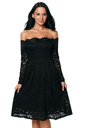 e476248d7e2 Women s Elegant Floral Lace Boat Neck Long Sleeve Boutique Midi Cocktail  Formal Dress Womens Dresses (