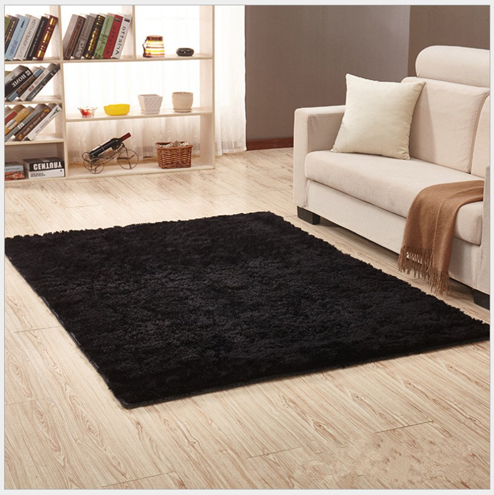 OYRE modern Simple decoration living room bedroom Non-slip plus thick carpet Yoga rug (Black, 2.6- Feet By 5.2- Feet)