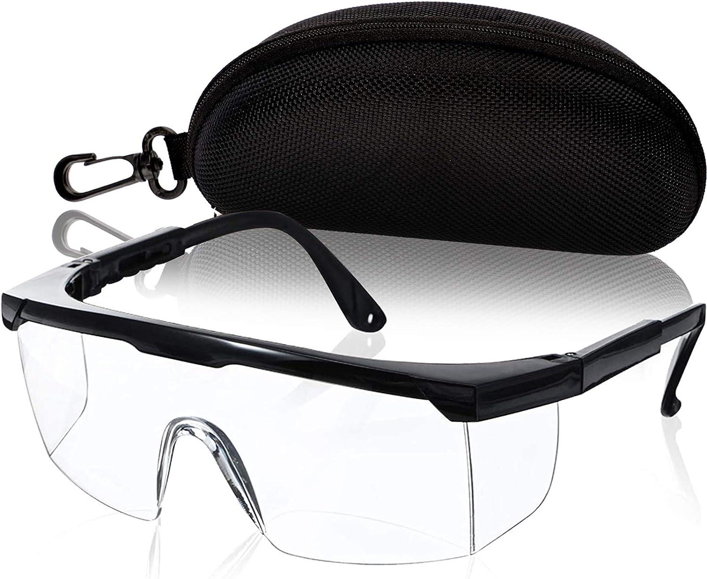 Gafas de protección para los ojos, gafas de trabajo con cristales transparentes, incluye caja protectora, Negro