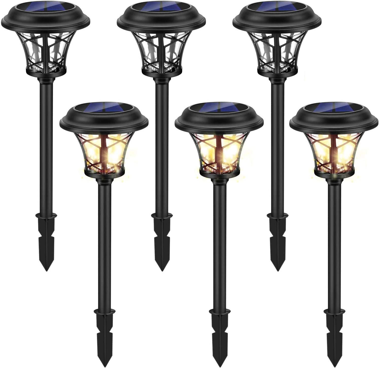6 Pack Large Solar Lights Outdoor Waterproof, Lights Sun Powered, Black Stainless Steel Glass Garden Pathway Lights, 20 Lumen LED Solar Landscape Lighting for Lawn, Yard and Driveway - White Lights