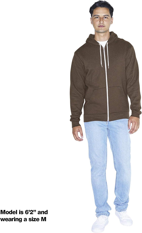 American Apparel Herren Flex Fleece Long Sleeve Zip Hoodie Kapuzenpulli Braun