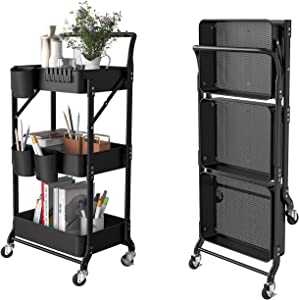DTK 3 Tier Foldable Rolling Cart Organizer with Metal Trays Utility Cart with Handle and Wheels Storage Shelves with 3 Hanging Cups and 6 Hooks, Easy Assembly for Bathroom Office Kitchen(Black)