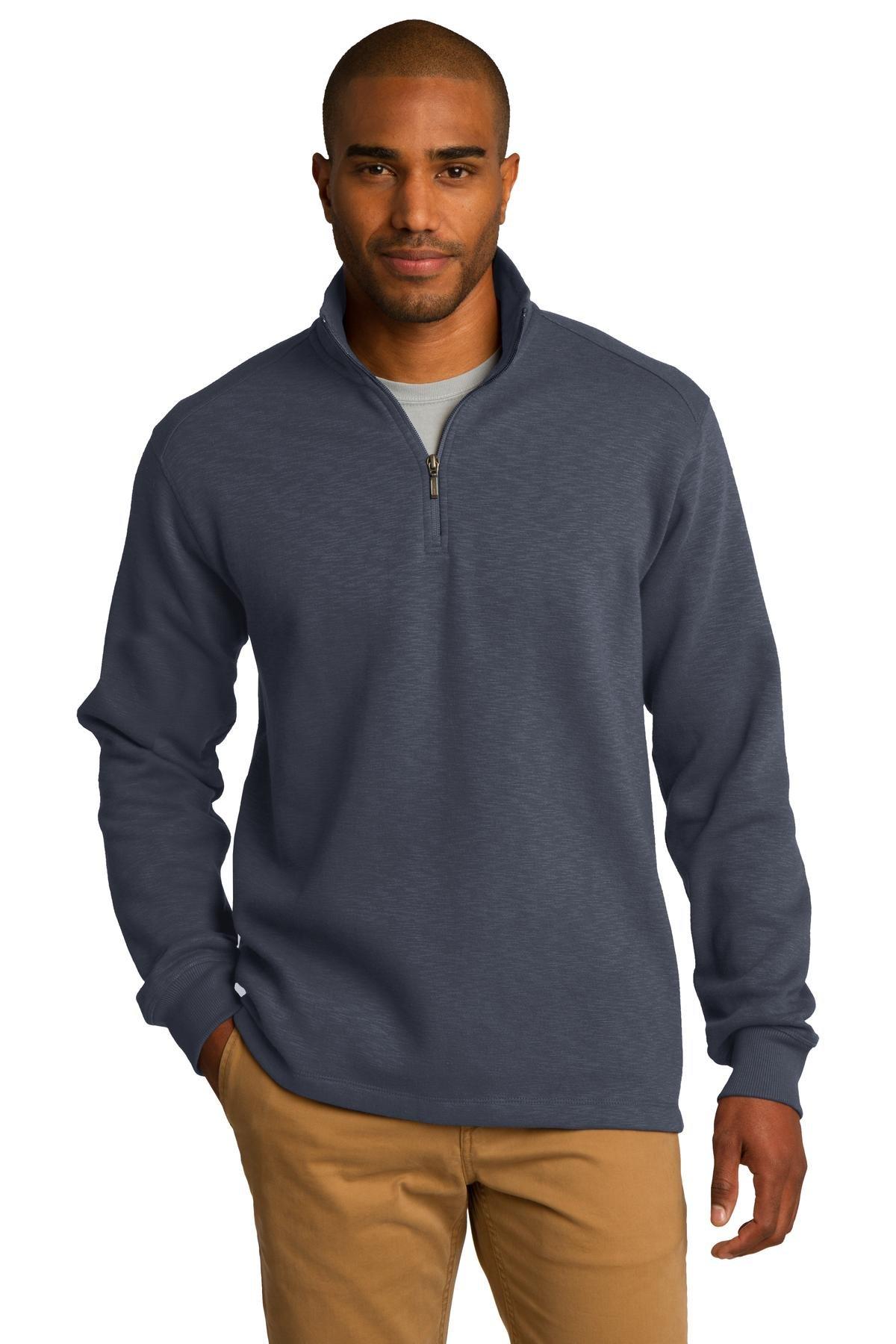 Port Authority Men's Slub Fleece 1/4 Zip Pullover XL Slate Grey