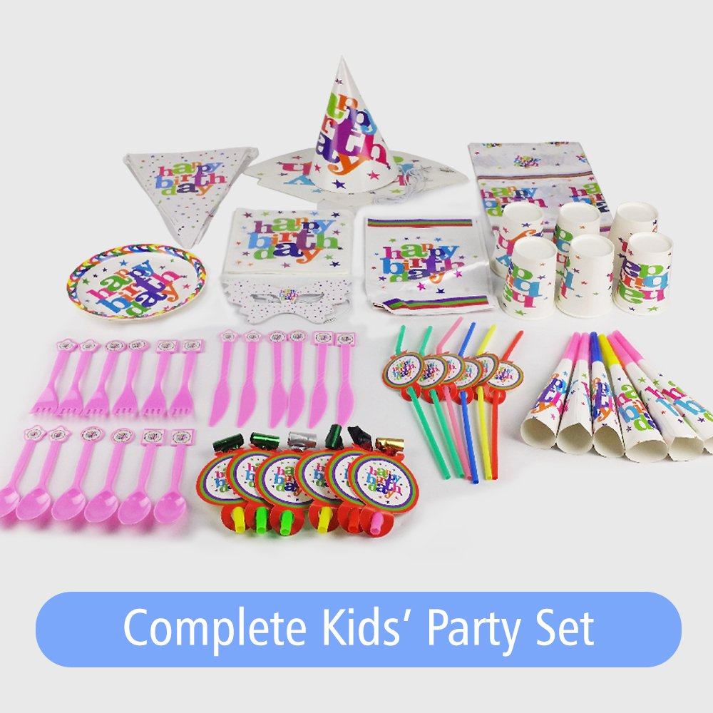Amazon.com: Fun Party Kit | Complete Colorful Pack for 6 Kids ...