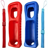 Jadebones 2X Silicone Skin Case Cover with Wrist Strap for Nintendo Wii Remote Controller (Red+Blue)