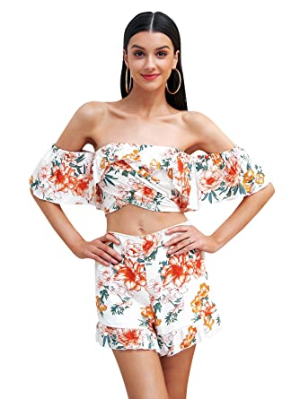 b5aae736d5 Missy Chilli Women s Off Shoulder Floral Print Two Piece Playsuit Ruffle  Sexy Short Jumpsuit Print 8