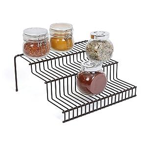 Smart Design 3-Tier Spice Rack w/Plastic Feet - Steel Metal Frame - Rust Resistant Finish - Spices, Jars, Cans Organization - Kitchen (9 x 4.25 Inch) [Bronze]