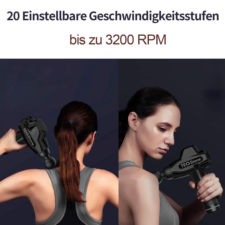 Massagepistole, TEQStone Massage Gun, Leise Massagegerät mit 20 Geschwindigkeitsstufen, bis zu 8 Stunden Akkulaufzeit, Handgehalten Tragbares Muskel Elektrisch Entspannen für Nacken Schulter Rücken