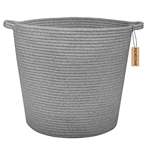 "INDRESSME Extra Large Storage Baskets Cotton Rope Basket Woven Baby Laundry Basket with Handle for Diaper Toy Cute Home Decor addition Diaper Toy 16.0""x 15.0""x12.6"", Grey"