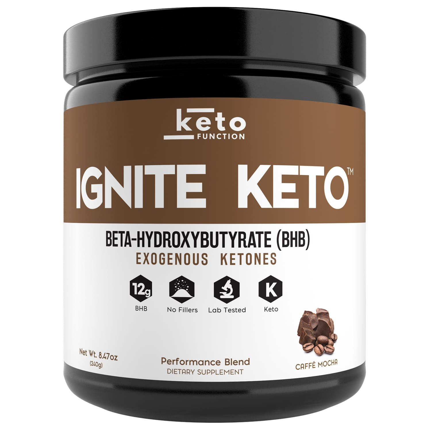 IGNITE KETO BHB Salts - Exogenous Ketones Supplement with 12g Pure BHB - IGNITE Ketosis, Energy, Focus and Fat Burn - Fuel a Ketogenic Diet (Mocha) by Keto Function