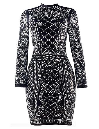 777abea093c1 VWIWV WIWV Women s Long Sleeve Sexy Rhinestone Embellished Bodycon Slim Fit  Club Mini Dresses
