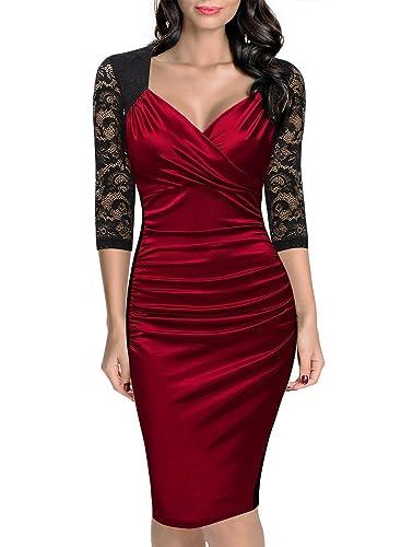 Belace Women's V-neck Fold Patchwork Bodycon OL Dress