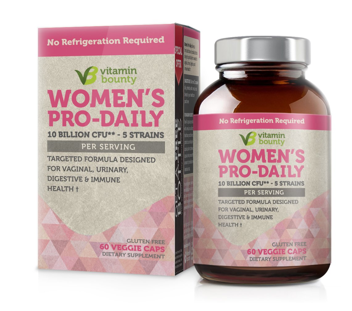 Vitamin Bounty Womens Daily Probiotic - 10 Billion CFUs Per Serving, 5 Strains, Prebiotic and Probiotic