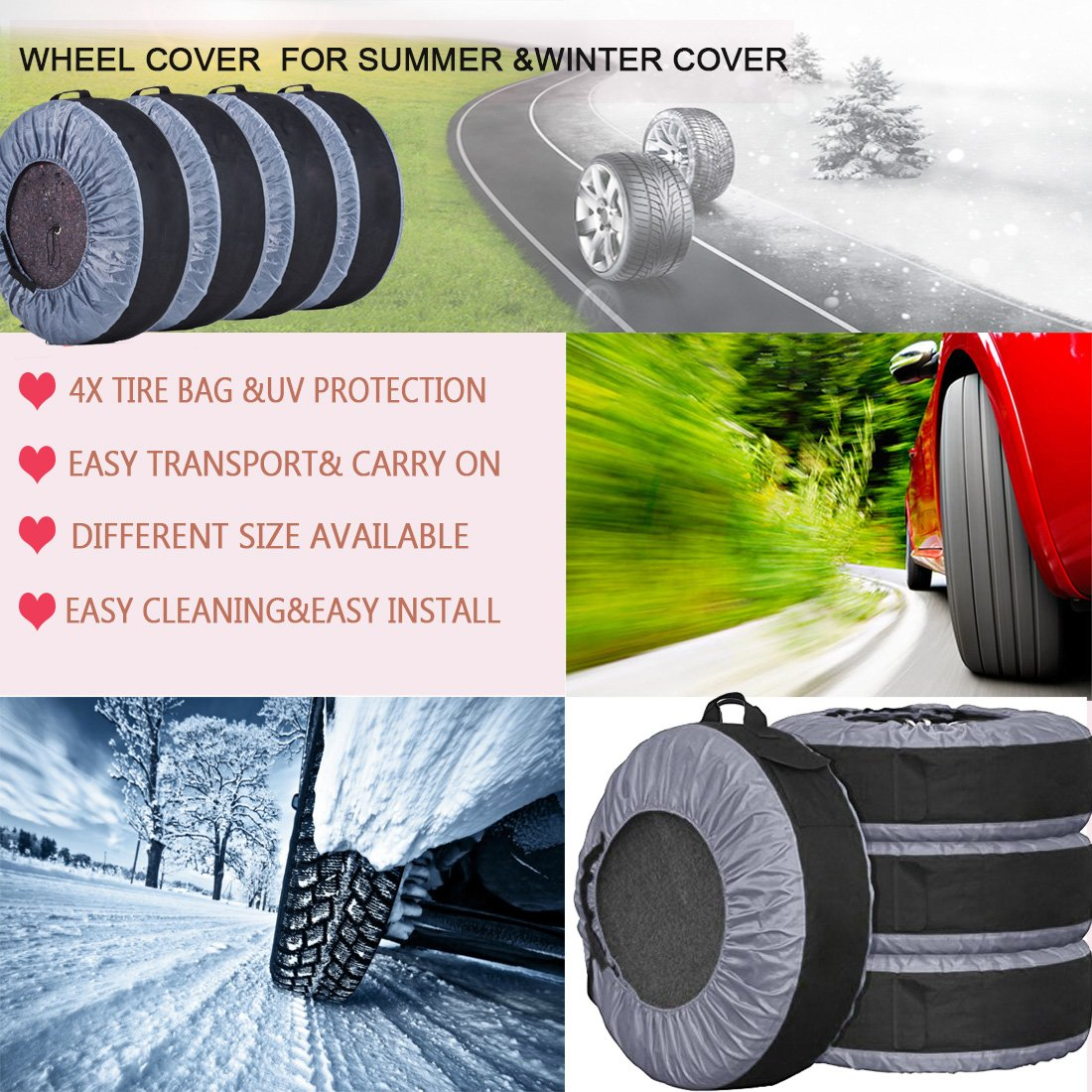 FLR Tire Tote Adjustable Waterproof Grey 30in Tire Covers Bags Seasonal Tire Storage Bag for Car Off Road Truck Tire Totes Set of 4 by FLR (Image #2)