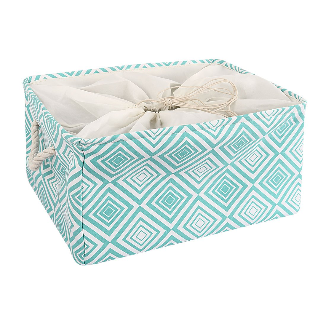 uxcell Storage Baskets w Cotton Handles Foldable Storage Toy Bins Laundry Basket Clothes Towel Organizer w Drawstring Closure for Home,Shelves,Closet 17.7'' x 13.8'' x 10'' (Green,X-Large)