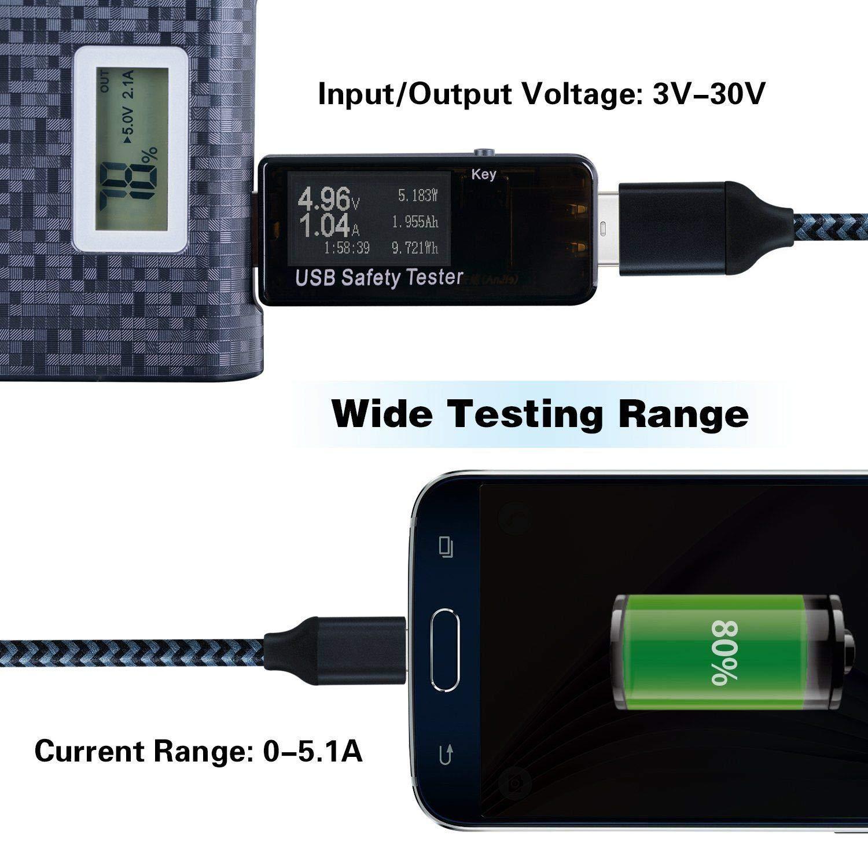 Speed of Chargers hangang num/érique USB Power Meter testeur multim/ètre Current and Voltage Moniteur cables Capacity of Power Banks de Black DC 5.1/A 30/V Amp Voltage Power Meter Test