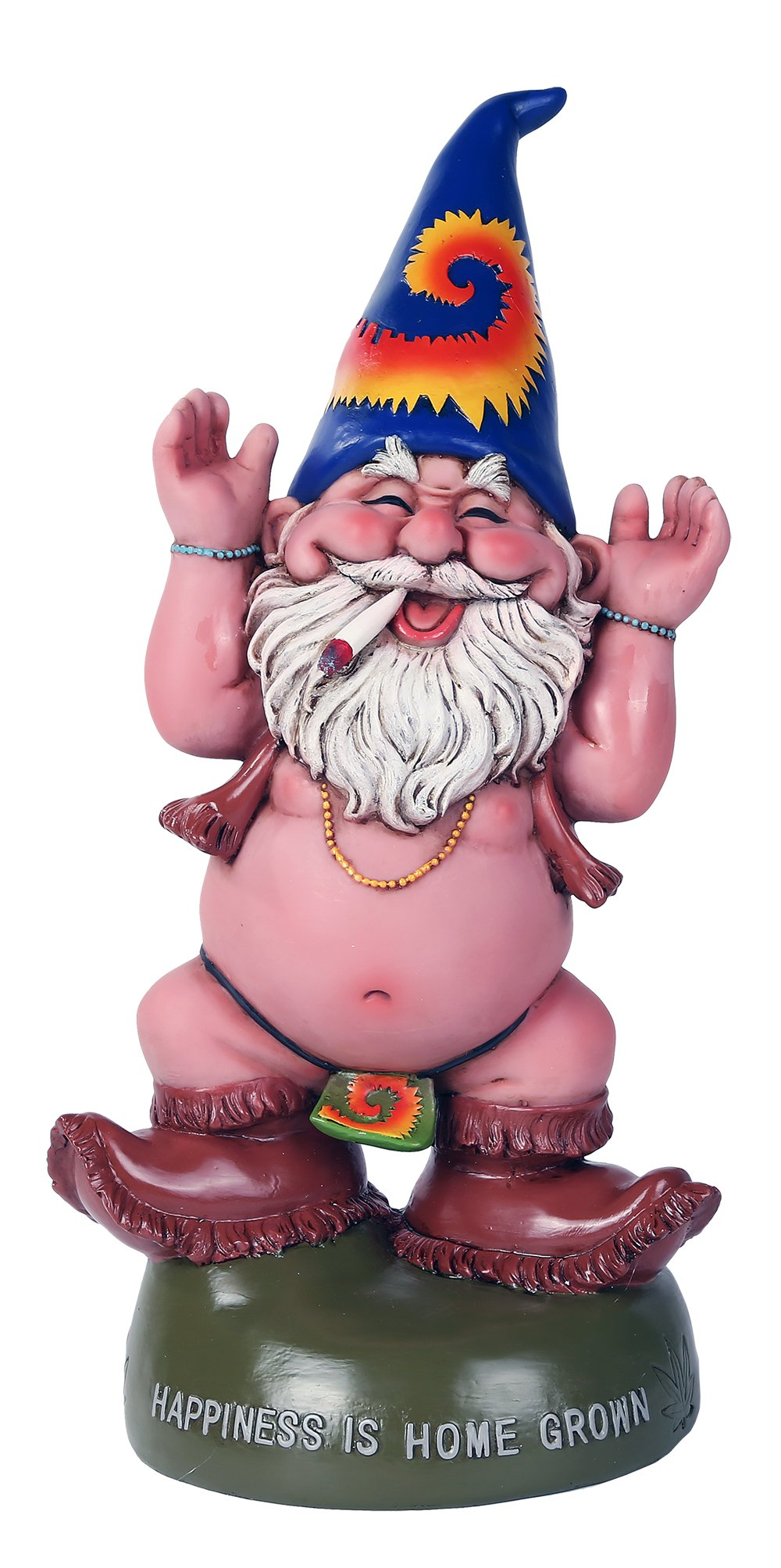 Pacific Giftware Free Spirited Pot Smoking Happiness Is Home Grown Garden Gnome Statue 10H