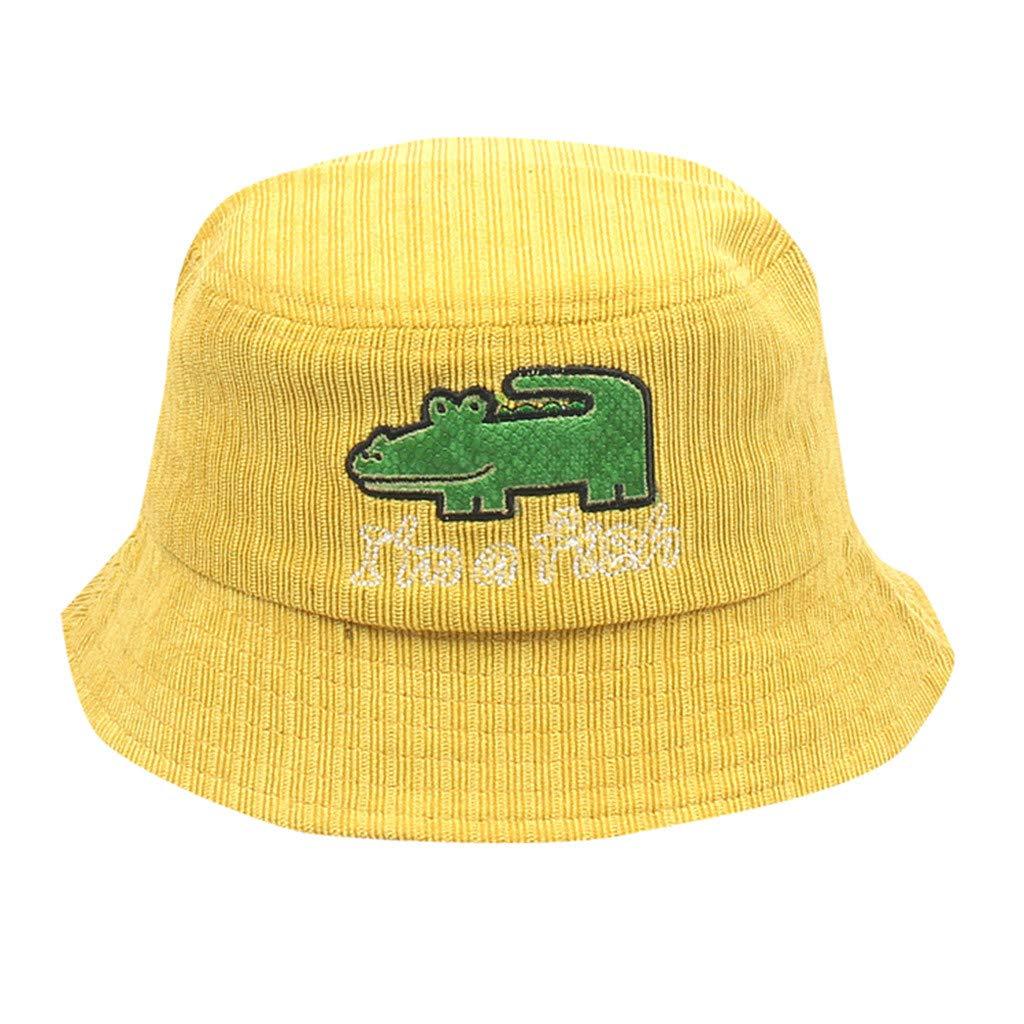 Cute Baby Girl&Boy Sun Hats,Crocodile Cartoon Fisherman Captain Hat,Kids Sun Protection Bucket Hat (Yellow)
