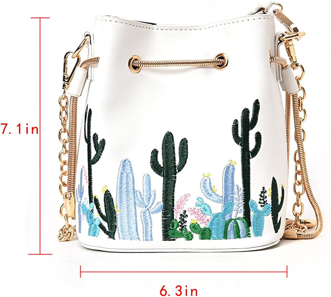 Felice Womens Faux Leather Drawstring Bucket Handbags Cute Mini Cactus Embroidery Satchel Purse