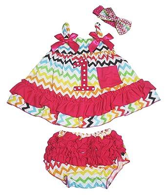 64c5408d36dd Birthday Dot 1st Rainbow Chevron Swing Top Pink Ruffle Baby Bloomer Nb-24m:  Amazon.co.uk: Clothing