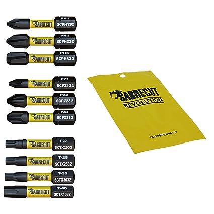 10 x SabreCut SCRK32 32mm destornillador de impacto magnético PZ1 PZ2 PZ3 PH1 PH2 PH3 TX20 TX25 TX30 TX40 Pozi Phillips Torx resistentes para Dewalt ...