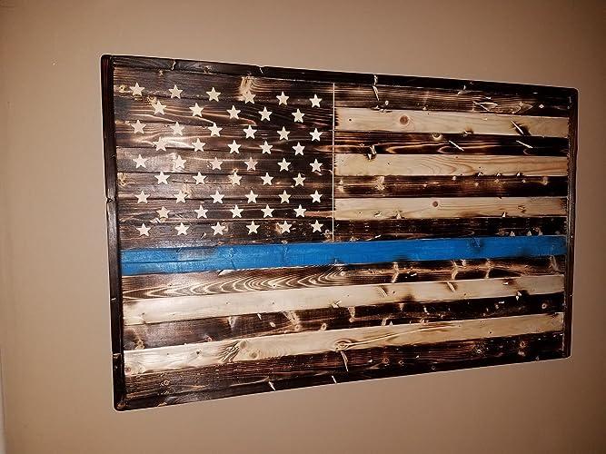 Amazoncom Wooden American Flag Thin Blue Line Rustic Wall Decor
