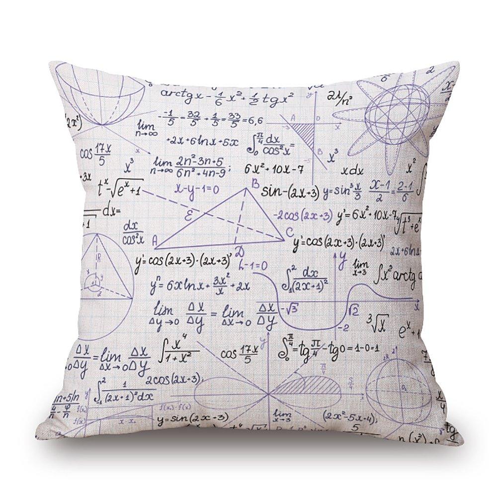 Fórmula Matemática lino y algodón cojín decorativo funda de almohada ...