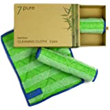 7.PURE Bamboo cleaning cloths | 3 pieces | 20 x 25 cm | Clean without cleaning agents – anti-bacterial – lint-free | Effortless cleaning | wiping cloth, cleaning cloths, chamois leather
